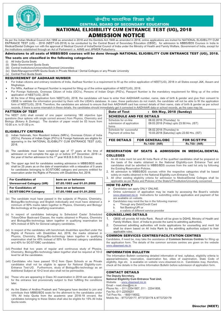 NEET Registration Form 2018